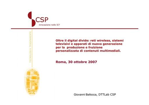 Conferenza GARR 2007 - Presentazione - Ballocca - Borri
