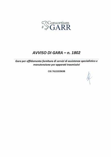 Bando 1802 - Avviso Procedura di Gara