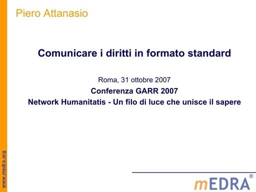 Conferenza GARR 2007 - Presentazione - Attanasio