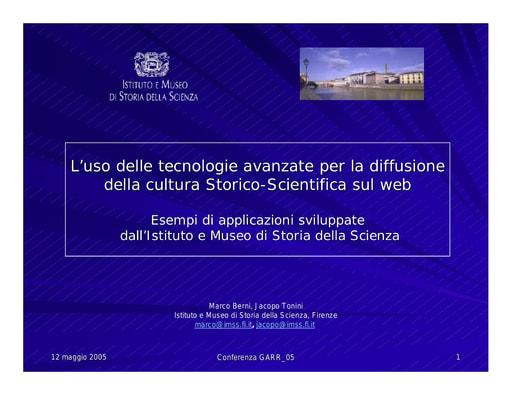 Conferenza GARR 2005 - Presentazione - Berni