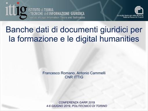 Conferenza GARR 2019 - Presentazione - Romano