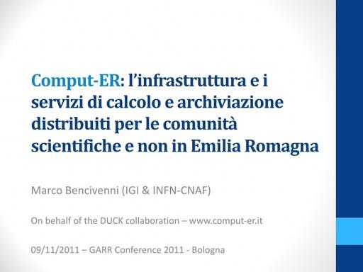 Conferenza GARR 2011 - Presentazione - Bencivenni M.