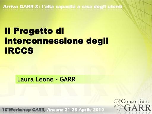 WS10 - Leone - Il progetto di interconnessione degli IRCCS