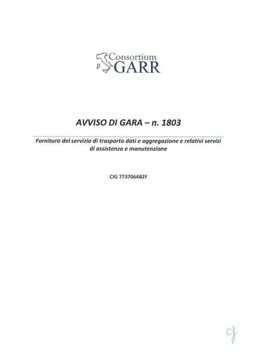 Bando 1803 - Avviso procedura di gara