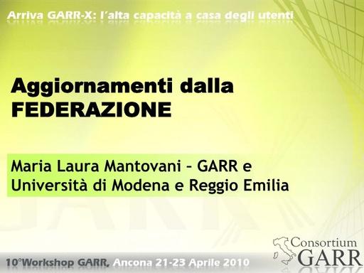 WS10 - Mantovani - IDEM: aggiornamenti dalla Federazione