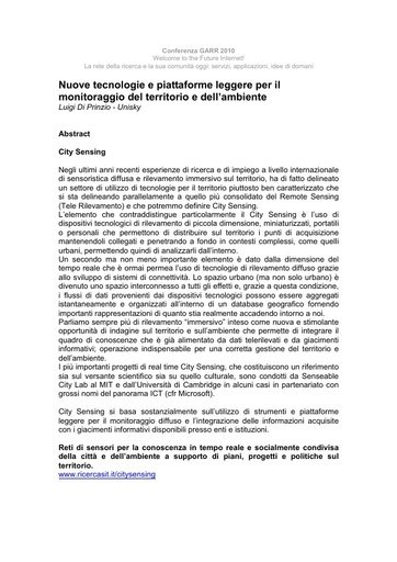 Conferenza GARR 2010 - Abstract - Di Prinzio