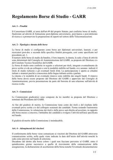 """Regolamento delle Borse di Studio """"Orio Carlini"""""""