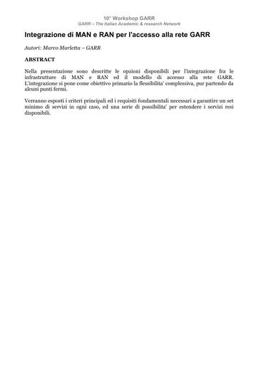 WS10 - Marletta - Abstract - Integrazione di MAN e RAN per l'accesso alla rete GARR