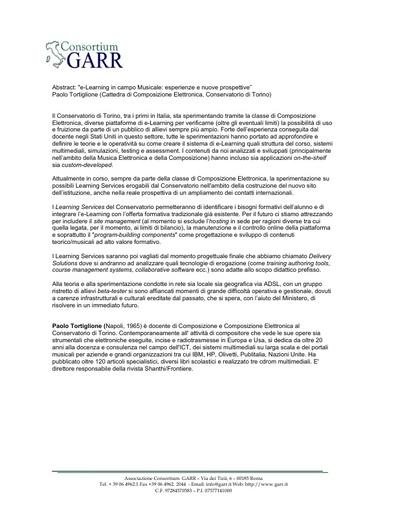 Conferenza GARR 2007 - Abstract - Tortiglione