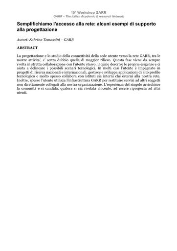 WS10 - Tomassini - Abstract - Semplifichiamo l'accesso alla rete