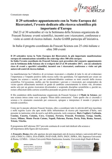 Frascati Scienza - Comunicato stampa Notte dei Ricercatori 2017