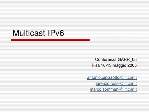 Conferenza GARR 2005 - Presentazione - Sommani