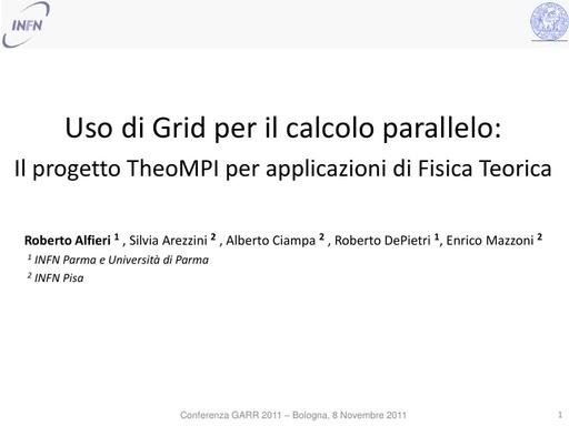 Conferenza GARR 2011 - Presentazione - Alfieri R.