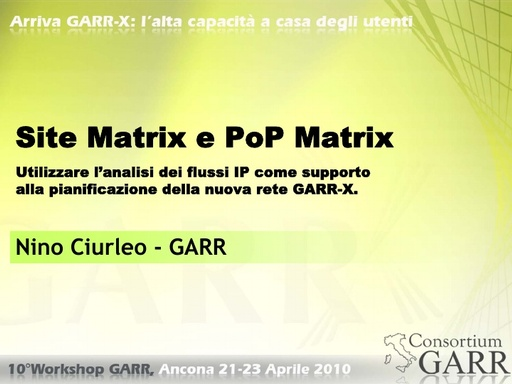WS10 - Ciurleo - Site Matrix e POP Matrix