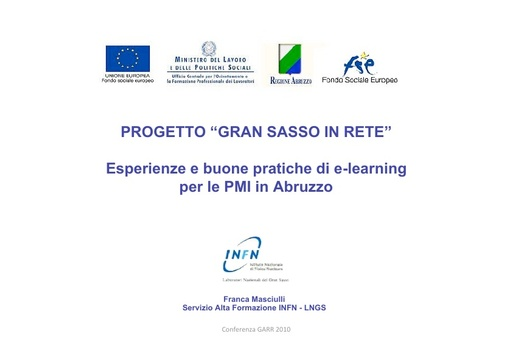 Conferenza GARR 2010 - Presentazione - Masciulli
