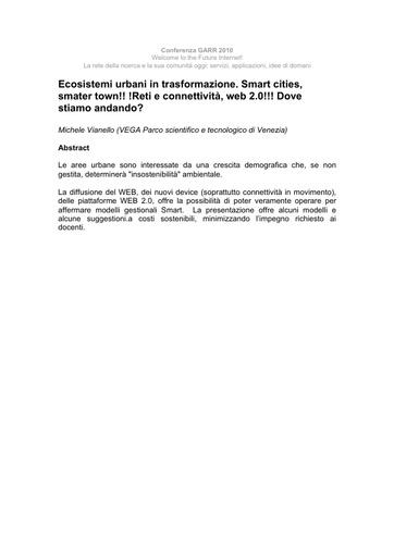 Conferenza GARR 2010 - Abstract - Vianello