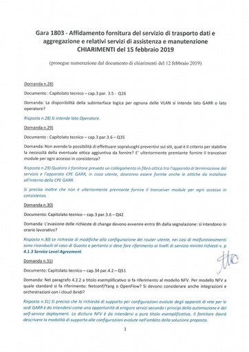 Bando 1803 - Chiarimenti al 15-2-2019