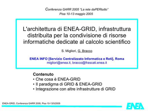 Conferenza GARR 2005 - Presentazione - Bracco