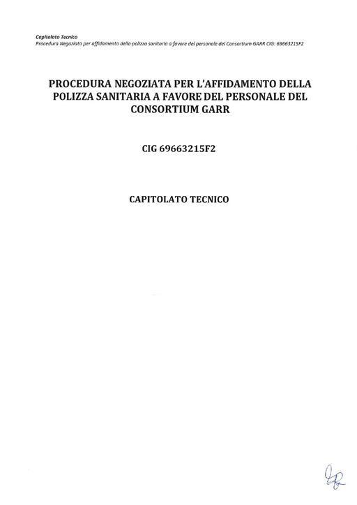 Gara Z-2017-02 - Capitolato tecnico - Polizza sanitaria GARR