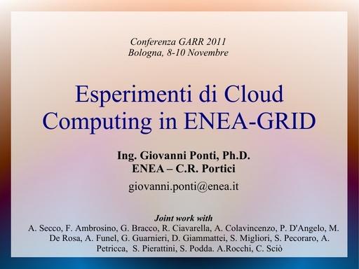 Conferenza GARR 2011 - Presentazione - Ponti G.