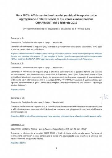Bando 1803 - Chiarimenti al 6-2-2019