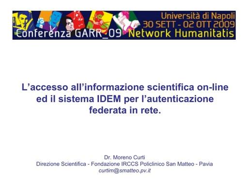 Conferenza GARR 2009 - Presentazione - Curti