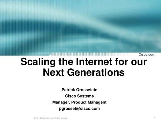Conferenza GARR 2005 - Presentazione - Grossetete