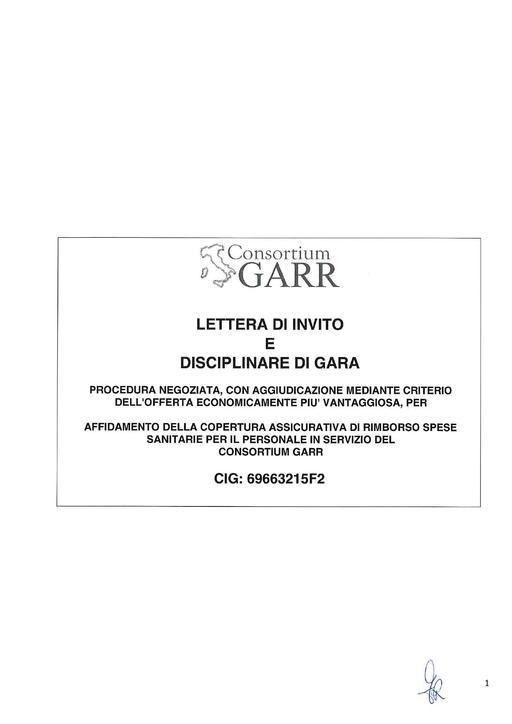 Gara Z-2017-02 - Disciplinare di gara - Polizza sanitaria GARR