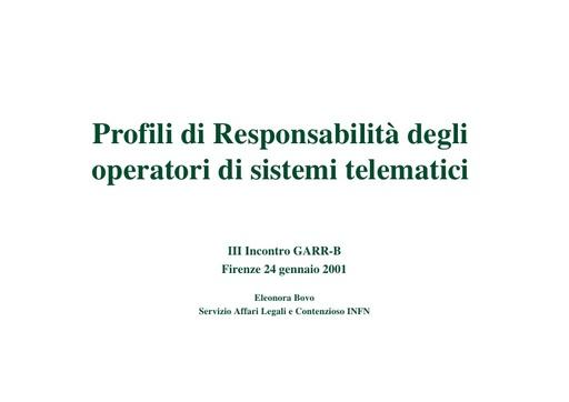 WS03 - Bovo - Profili di responsabilità degli operatori di sistemi telematici