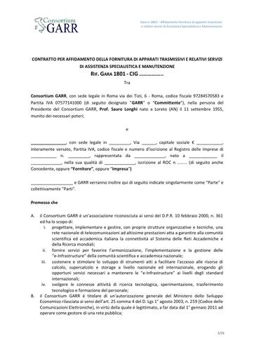 Bando 1801 - Schema di contratto