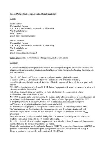 Conferenza GARR 2005 - Abstract - Podesta