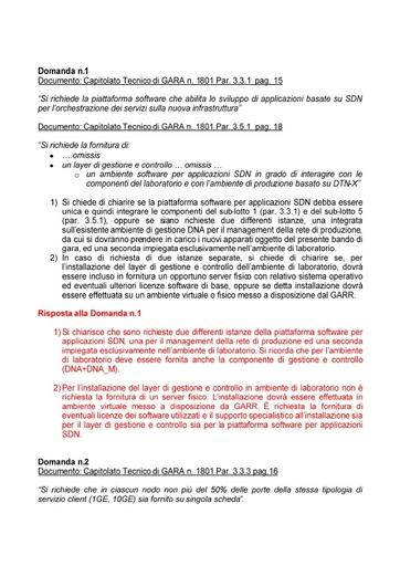 Bando 1801 - Risposte alle domande di chiarimento pervenute entro il 08/02/2018