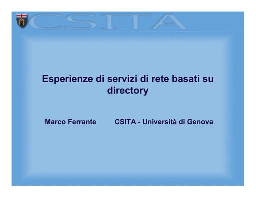 WS04 - Ferrante - Esperienze di servizi di rete basati su directory