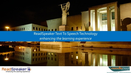MoodleMoot 2017 - ReadSpeaker - ReadSpeaker text to speech technology