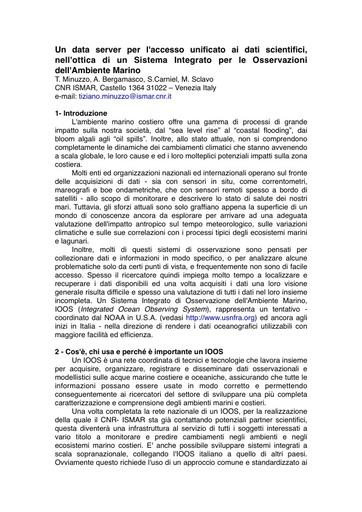 Conferenza GARR 2010 - Abstract - Minuzzo