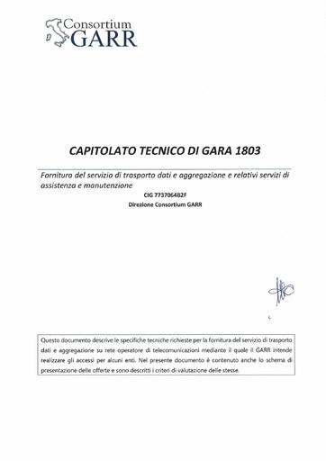 Bando 1803 - Capitolato tecnico di gara