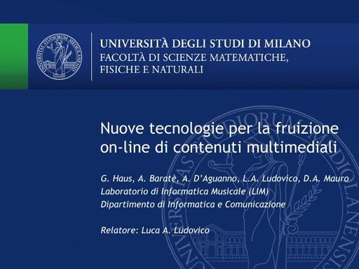 Conferenza GARR 2009 - Presentazione - Ludovico