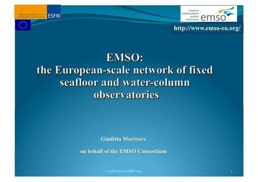 Conferenza GARR 2011 - Presentazione - Marinaro G. - Favali P.