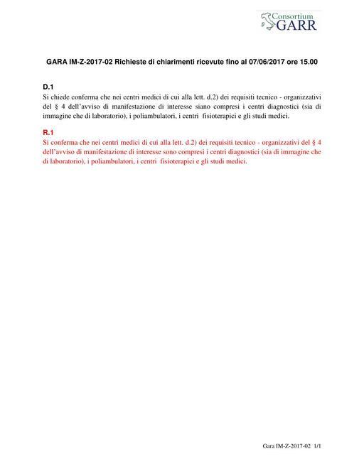 Indagine di mercato IM-Z-2017-02 - Chiarimenti