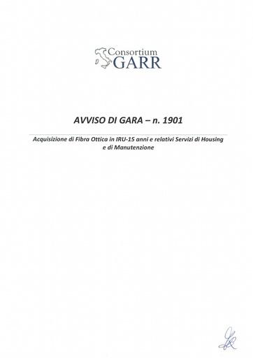 Bando 1901 - Avviso Procedura di Gara