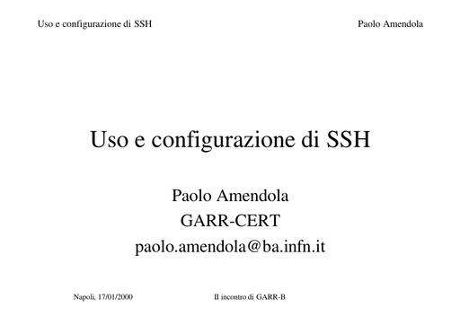 WS02 - Amendola - Uso e configurazione di SSH