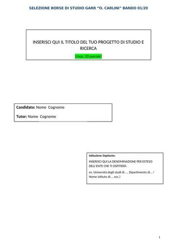 Template Progetto di studio e ricerca Bando 01/20
