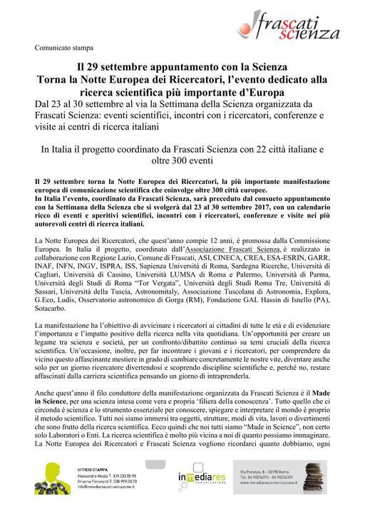 Frascati Scienza - Notte dei Ricercatori 2017