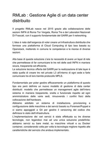 Conferenza GARR 2016 - Paper - Zani