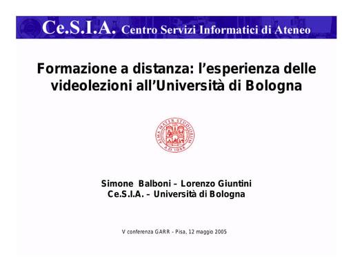 Conferenza GARR 2005 - Presentazione - Balboni