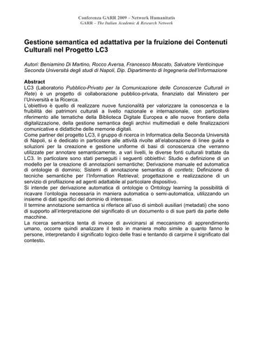 Conferenza GARR 2009 - Abstract - Di Martino