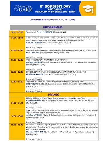 Programma Borsisti Day 8 - 2016