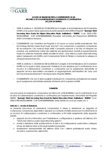 Bando Selezione JOB-18-SWING