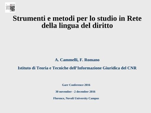 Conferenza GARR 2016 - Presentazione - Romano
