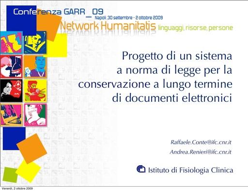 Conferenza GARR 2009 - Presentazione - Conte